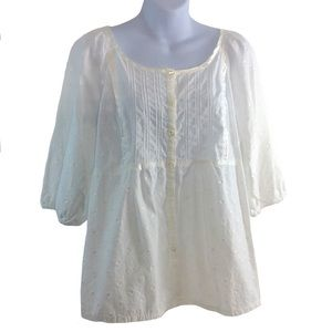 White Peasant-style Tunic-Top